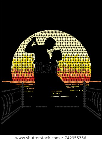Tango zonsondergang illustratie meisje paar dansen Stockfoto © adrenalina