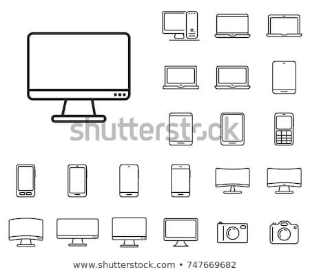 Supervisar icono blanco Internet televisión botón Foto stock © smoki