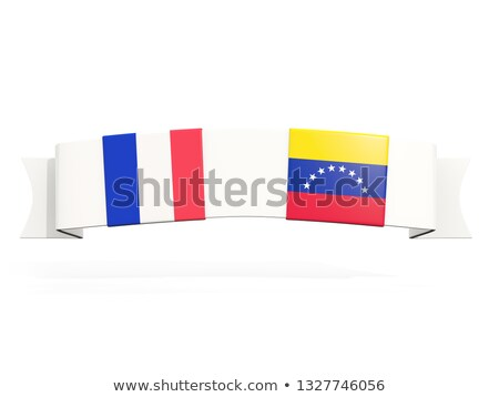 Banner with two square flags of France and venezuela Stock photo © MikhailMishchenko