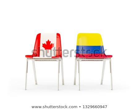 Kettő székek zászlók Kanada Colombia izolált Stock fotó © MikhailMishchenko