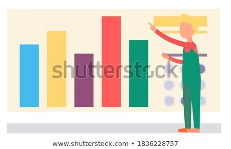 Infografika statisztika nyomozás munkás vektor nagyító Stock fotó © robuart