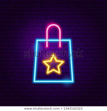 Hediye alışveriş çantası neon kutlama tanıtım ışık Stok fotoğraf © Anna_leni