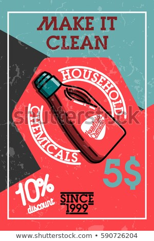 Color vintage household chemicals banner Stockfoto © netkov1