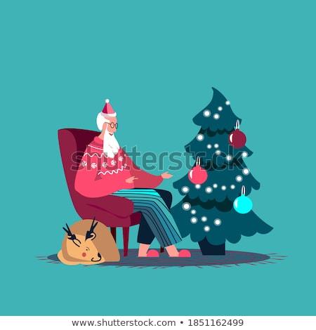 Merry Christmas Santa Claus Sitting Cosy Armchair Stockfoto © robuart