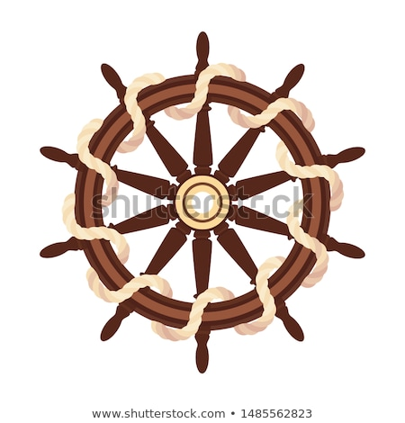vector flat boat rope handwheel ship wheel helm foto d'archivio © vetrakori
