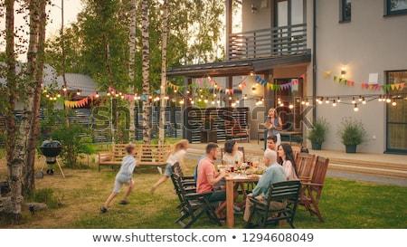 ストックフォト: 家族 · 家 · 庭園 · 実例 · ツリー · 赤ちゃん