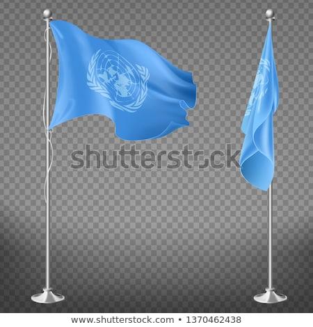 Onu bandeira branco grande conjunto céu Foto stock © butenkow