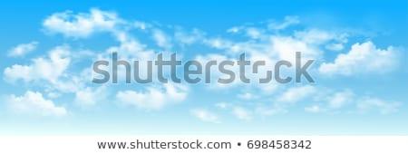 Ciel bleu pelucheux nuages illustration main peint Photo stock © amok