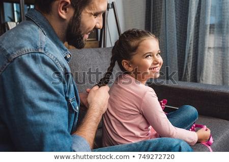 Haren dochter voorzichtig jonge vader denim Stockfoto © pressmaster