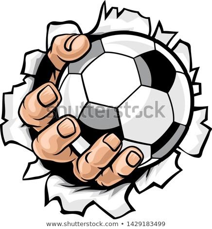 Soccer Football Ball Hand Tearing Background Stock photo © Krisdog