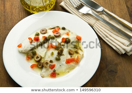 Baked sea bass with capers Stock photo © Alex9500