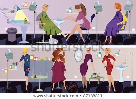 Hair Styling and Pedicurist Polishing Nails Vector Stock photo © robuart