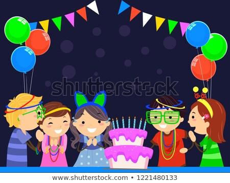 Gyerekek izzik sötét születésnapi buli illusztráció születésnapi torta Stock fotó © lenm