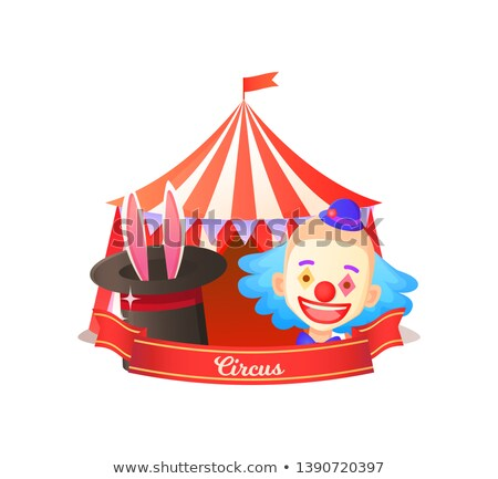 ears in hat clown and tent circus poster vector stock photo © robuart