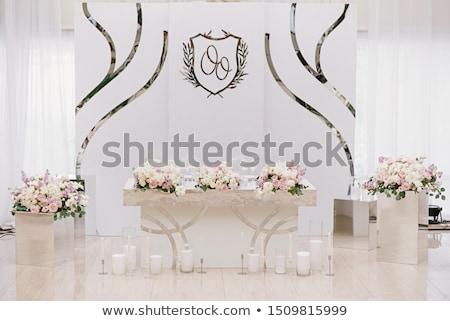 fehér · gyertyák · rózsa · égő · mintázott · klasszikus - stock fotó © ruslanshramko