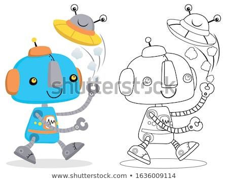 robots · cartoon · ingesteld · kleurboek · pagina · illustratie - stockfoto © izakowski
