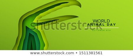 animal day papercut banner of wild toucan bird stock photo © cienpies
