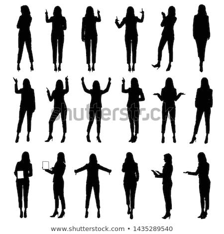nő · toló · interaktív · érintőképernyő · vonzó · szőke · nő - stock fotó © feverpitch