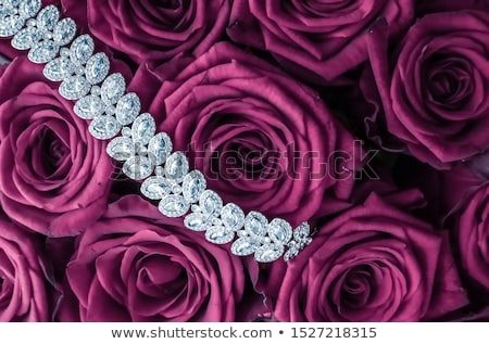 Luxury diamond jewelry bracelet and pink roses flowers, love gif Stock photo © Anneleven