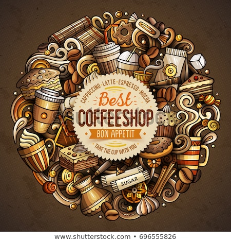 Photo stock: Cartoon Doodles Coffe Shop Illustration Cafe Funny Picture