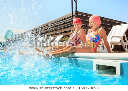 Activities on the pool, children swimming and playing in water, happiness and summertime BANNER, LON Stock photo © galitskaya