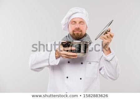 Jungen professionelle Küchenchef genießen nice Geruch Stock foto © pressmaster