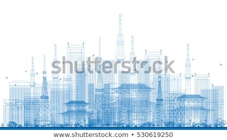 Cidade arranha-céus azul cor escritório Foto stock © ShustrikS