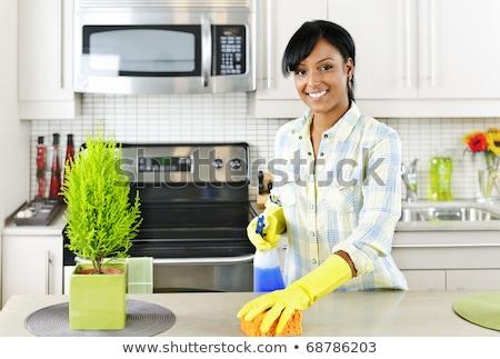 Boldog afrikai nő szivacs takarítás otthon Stock fotó © dolgachov