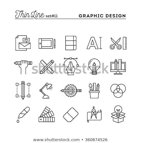 Design graphique ordinateur ampoule idée créativité monochrome Photo stock © yupiramos