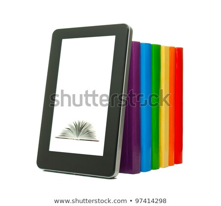 row of colorful books and electronic book reader over white back stock photo © andreykr