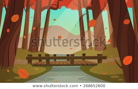 autumn forest in the mountains wooden bridge stock photo © justinb