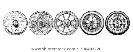 Old Wagon Wheel rubber tire Stock photo © pictureguy