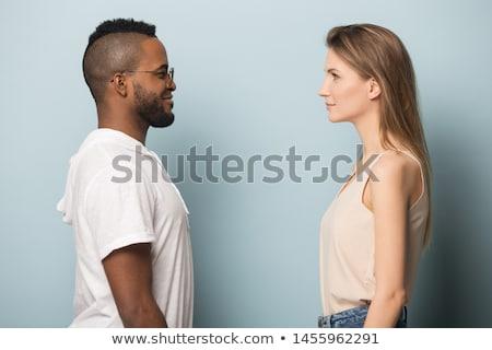 Paar staren ander vrouw liefde gras Stockfoto © photography33