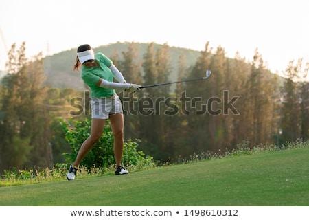 женщину · играет · гольф · области · красивая · женщина · небе - Сток-фото © juniart