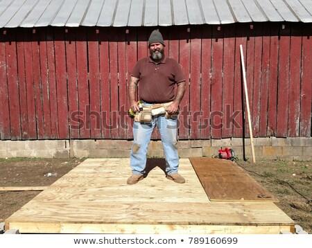 Rechoncho carpintero sonrisa hombre trabajo fondo Foto stock © photography33