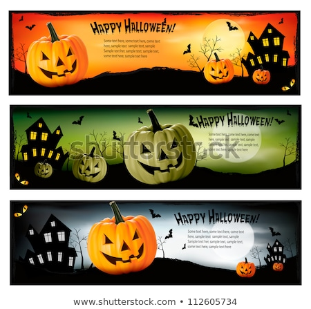 set of three halloween banners with spiders stock photo © annavolkova