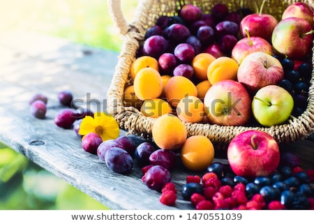 fresh apple and wicker basket Stock photo © M-studio