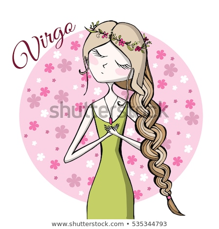 Stock photo: woman cartoon illustration virgo sign