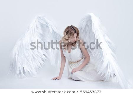 Belle blond femme ailes d'ange rose robe Photo stock © vankad