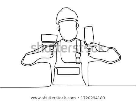handyman · aprendiz · construção · caneta · fundo · escrita - foto stock © lovleah