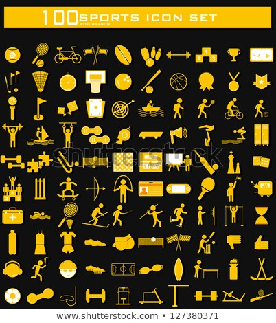 Hundred Clean Sports Icon Set Stockfoto © Vectomart