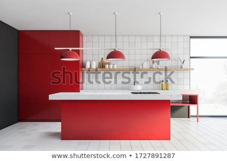 diseno · interior · moderna · rojo · interior · de · la · cocina · diseno · limpio - foto stock © ozaiachin