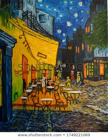 uitzicht · op · straat · cafe · terras · lege · partij · restaurant - stockfoto © smuki