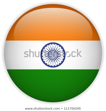 Hindistan · bayrak · parlak · düğme · vektör · cam - stok fotoğraf © soland