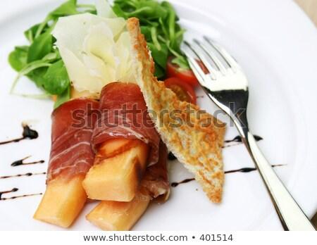 jamón · frescos · melón · pan · vino · luz - foto stock © rohitseth