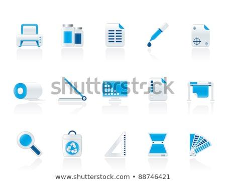 Zdjęcia stock: Printer Icon On Triangle Background