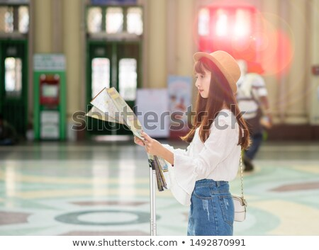 Woman waiting train and look other direction Stock photo © vetdoctor