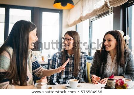 Meisje vergadering cafe warme drank beker persoon Stockfoto © monkey_business