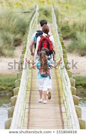 вид · сзади · семьи · ходьбе · пляж · морем - Сток-фото © monkey_business