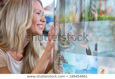 女性 テレビ チャンネル ガラス タッチスクリーン ストックフォト © HASLOO